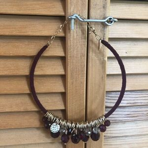 Burgundy gold beaded necklace